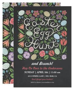 Chalkboard Easter Egg Hunt and Brunch Card Cute and fun, this Easter invitation for a Egg Hunt and Easter Brunch features woodland spring flowers and eggs on a chalkboard. The back of the card has a matching pattern.