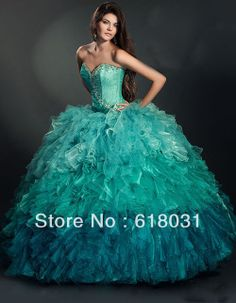 2014 Fashionable sweetheart neck beading ruffles puffy nigth blue and turquoise multi colors puffy quinceanera 15 dresses BS1120 US $179.99