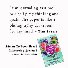 Tap into your #intuition #clarity and #creativity with #journaling Meditation Videos, Free Meditation, Karen Salmansohn, Mindfulness Quotes, Listening To You, My Mind, Your Heart, Intuition, Clarity