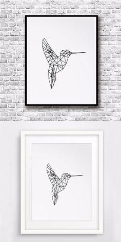 Hummingbird Print Art Canvas Poste, Art Printables, Printable Spring Wall Art, Geometric Animals Home Decor, Frame Not included $7.99