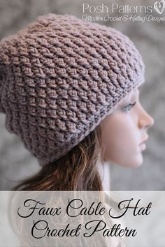Faux Cable Slouchy Hat Crochet Pattern. Super stylish and perfect for any age. By Posh Patterns.