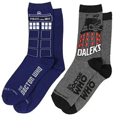 Doctor Dr Who Tardis Womens 2 Pair Crew Cut Socks Size 410 DW0206 >>> Details can be found by clicking on the image.