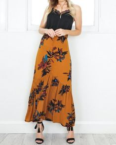 Floral Print Fabric, Floral Maxi, Girls In Love, Mustard, Fashion Online, Fashion Inspiration, Women's Clothing, Fashion Dresses, Ootd