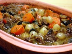Hearty, tender beef in a red wine sauce. Serve with a loaf of crusty bread! In Memory of our Julia Child.