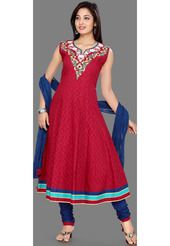 Red Cotton Jacquard Churidar Kameez