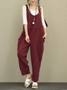 Plus Size Vintage Women Pure Color Cotton Jumpsuits