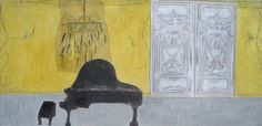 """""""Somewhere in the 5th/Interior with Chandelier""""  Gigi Mills   17""""x32"""" Oil on Bookboard and Panel"""