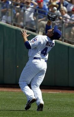 Milwaukee Brewers' Rickie Weeks flies out to Chicago Cubs first baseman Anthony Rizzo