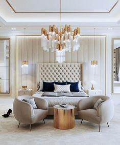 Modern Luxury Bedroom, Modern Master Bedroom, Gold Bedroom, Luxurious Bedrooms, Bedroom Decor, Modern Classic Bedroom, Bedroom Neutral, Luxury Bedroom Design, Teen Bedroom