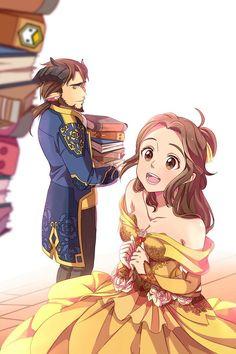 Dibujo de la bella y la bestia en versión anime