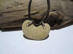Natural Drilled Heart Pebble Beach Sea Stone Necklace Jewelry Leather Cord