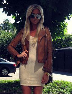 I like leather jackets toughening up dresses.