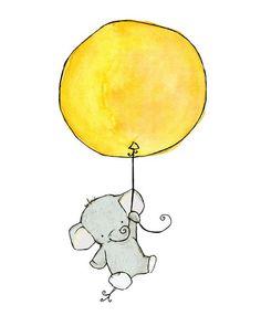 Vivero arte--Elefante globo--impresión del arte