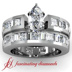 Channel Set Baguette and Princess Cut marquise shaped Diamond Bridal Ring Set