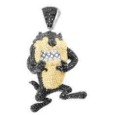 Tasmanian 2 Tone Canary Black Lab Diamond White Gold Finish Pendant   Masterofbling
