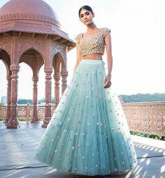 The Stylish And Elegant Lehenga Choli In Sky Blue Colour Looks Stunning And Gorgeous With Trendy And Fashionable Embroidery .The Net Fabric Party Wear Lehenga Choli Looks Extremely Attractive And Ca. Net Lehenga, Indian Lehenga, Anarkali, Lehenga Choli, Gold Lehenga, Sabyasachi, Manish, Pakistani, Party Wear Lehenga
