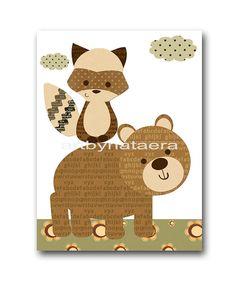 INSTANT DOWNLOAD Art Baby Nursery Decor Fox by nataeradownload