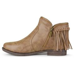 Women's Journee Collection Fringed Riding Booties - Dark Chestnut 6.5, Durable