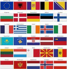 Europakarte:  Flaggen der europäischen Länder