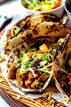 Thai Peanut Chicken Tacos with Pinneapple Slaw (the original) Thai Chicken Marinade, Thai Chicken Wraps, Chicken Wrap Recipes, Chicken Tacos, Peanut Butter Chicken, Thai Peanut Chicken, Healthy Chicken, Food Network Recipes, Cooking Recipes