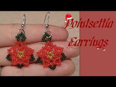 Pointsettia Flower Earrings Beading Tutorial by HoneyBeads