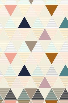 Colorful fabrics, digitally printed by Spoonflower - Modern Geometric - Vintage Modern geometric pattern in light pink, turquoise, navy and taupe by Lemonni. This modern design in Geometric Patterns, Geometric Fabric, Graphic Patterns, Geometric Designs, Abstract Pattern, Geometric Shapes, Modern Patterns, Simple Geometric Pattern, Geometric Wallpaper