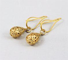 Matte gold earrings teardrops elegant earwires by madebysheri, $21.50