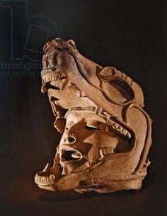 Human head in the mouth of a jaguar, Remojadas Culture, Vera Cruz (ceramic) Aztec Mask, Colombian Art, South American Art, Aztec Culture, Human Head, Human Body, Human Mouth, Mesoamerican, Yoga Art