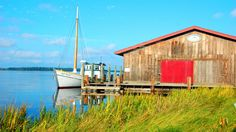 Old Point next to the small boat shed at the Chesapeake Bay Maritime Museum. Dream Vacation Spots, Dream Vacations, Saint Michaels Maryland, Visit Maryland, Lobster Fishing, Boat Shed, Shrimp Boat, Harbor Town, Tourism Website