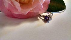 Tamaño del anillo de plata amatista morado oscuro 7 con por missy69