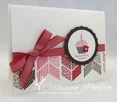 SU! Patterned Occasions and Oh, Hello stamp sets; colors are Early Espresso, Regal Rose and Real Red - Catherine Pooler