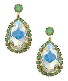 Liz Palacios Opalescent Crystal Pear Earrings