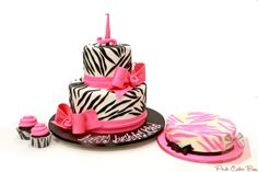 Birthday Zebra Print Cake & Cupcakes