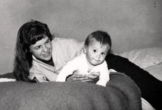Sylvia Plath and her son Nicholas Hughes in Devonshire, December 1962.