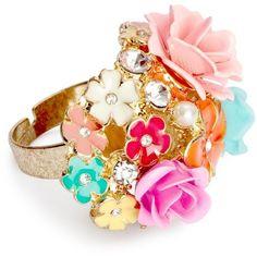 Multicoloured Enamel 3-D Flower Adjustable Ring ($19) ❤ liked on Polyvore