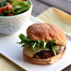 Porcini mushroom-crusted chicken burger with havarti