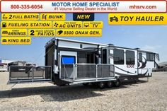 New 2016 Heartland RV Edge Toy Hauler, Bath & Side Patio, 2 A/C For Sale by Motor Home Specialist available in Alvarado, Texas Class C Toy Hauler, Fifth Wheel Toy Haulers, Toy Hauler For Sale, Toy Hauler Trailers, Toy Hauler Camper, Camper Trailers, Rv Motorhomes, Motorhomes For Sale, Luxury Rv Living