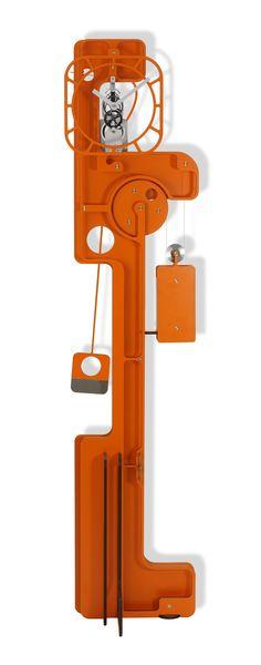 Horloges comtoises contemporaines design moderne utinam besançon philippe lebru murale Popup orange-1
