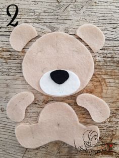 all the pieces of the felt bear - Stofftiere Felt Animal Patterns, Felt Crafts Patterns, Felt Crafts Diy, Stuffed Animal Patterns, Baby Crafts, Easter Crafts, Bear Felt, Felt Baby, Sewing Toys
