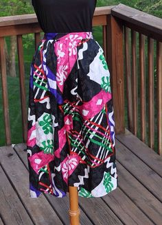 1980s Multicolored Skirt Hot Pink and Green by Purl1VintageToo