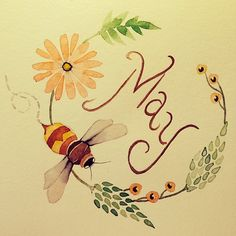 Colleen Parker. May, flower, bee, watercolour, art, tattoo