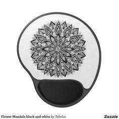 Flower Mandala black and white Gel Mouse Pad