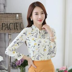 eee6623dd1044 2017 Autumn Female Fashion O-Neck Chiffon Blouses Slim Women Chiffon Blouse  Women Tops Plus Size Blusas Office Work Wear shirts