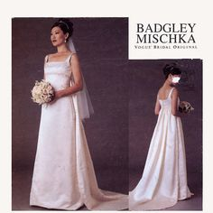 Badgley Mischka wedding dress with train sewing pattern Vogue 2626 American Designer Plus size Sz 18 to 22