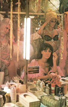 "1973mraversion:"" Las Vegas showgirls prep costumes and make up."""