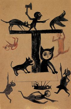 Bill Traylor, in RV 15. http://rawvision.com/articles/bill-traylor This is possibly my favorite Traylor piece. Reminds me of the initials in medieval manuscripts.