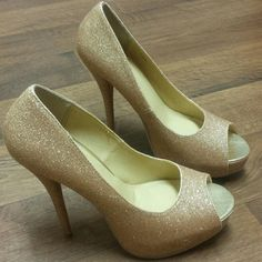 Gold glitter peep toe heels Never worn Charlotte Russe Shoes Heels