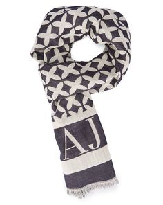 Echarpe En Etamine de laine Blanc et bleu Logo AJ ARMANI JEANS