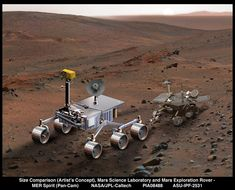An artist's concept of NASA's Mars Science Laboratory (left) serves to compare it with Spirit, one of NASA's twin Mars Exploration Rovers. Mars Science Laboratory is in development for a launch opportunity in 2011 (previously … Cosmos, Space Tourism, Space Travel, Sistema Solar, Mars One, Mars Science Laboratory, Mars Planet, Discover Magazine, Hubble Space Telescope