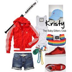 Sporty outfit inspired by Kristy of the Baby-Sitters Club -- good idea for writers to visualize character(s)